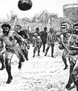1872年、イングランドとスコットランドの間で行われた世界初の公式国際試合(当時の新聞の挿絵)